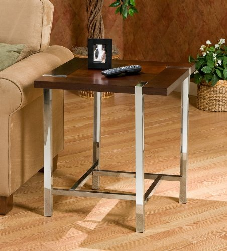 Cheap End Table Espresso Top Square Metal Tubing Legs (AZ00-46289×21177)