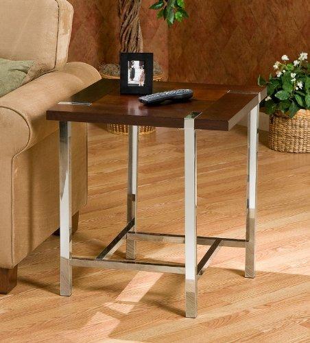 Cheap End Table Espresso Top Square Metal Tubing Legs (AZ00-46289×21177)