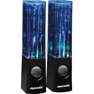 AquaAudio™ Water Dancing Speakers - LED Light Watershow with Water Jets / Universal Stereo Speakers for Desktop PC Computers, Mac, Laptops, Smartphones, iPod, iPad, Tablets, Etc. (Black)