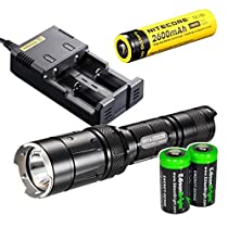 Nitecore SRT6 Night Officer (Black) 930 Lumens XM-L2 T6 LED Variable brightness Flashlight/searchlight with Genuine Nitecore NL186 18650 2600mAh Li-ion rechargeable battery, Nitecore i2 intelligent Charger, In-Car 12V Charging Cable, and 2 X EdisonBright CR123A Batteries