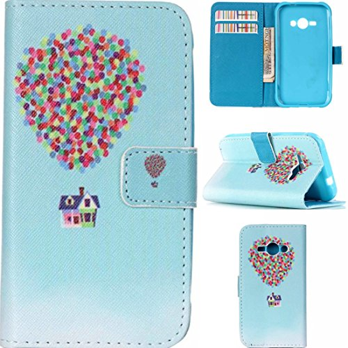 J1 Ace Case, Samsung Galaxy J1 Ace Case,Enjoy Sunlight [Balloon and House] Kickstand Feature] Luxury Wallet PU Leather Folio Wallet Flip Case Cover Built-in Card Slots for Samsung Galaxy J1 Ace Case (Samsung Ace Phone Wallet Cases compare prices)
