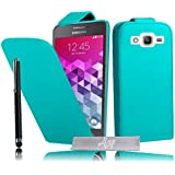 Etui Housse Luxe Turquoise Samsung Galaxy Grand Prime SM-G530FZ \ Grand Prime VE Value Edition SM-G531F + STYLET et 3 FILMS OFFERT!!