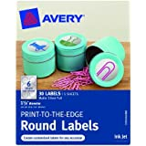 Avery Print-to-the-Edge Round Labels, Matte Silver Foil, 1.625-Inch Diameter, Pack of 30 (41465)