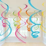 Multi Paper Swirl Decorations (Pack Of 12)