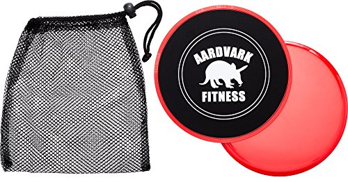 Gliding Discs - Core Sliders for Strength and Stability - Abdominal and Glutes Exercise Slides for Home and Gym Work Out - Works on Carpet and Hardwood Floors by AARDVARK - Red (Slide Exercise compare prices)