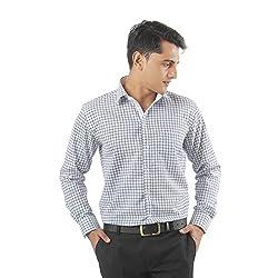 ZIDO Green Blended Men's Checks Shirts PCFLX1306_Green_48