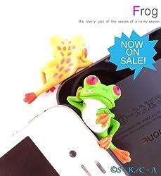 可愛すぎ注意 横柄カエル(S・K./C・A)思わず笑顔がこぼれるイヤホンジャック iphone 5/PLUG APLI/イヤホンプラグ/ヘッドフォンプラグ/スマートフォン/MP3プレーヤー :グリーン