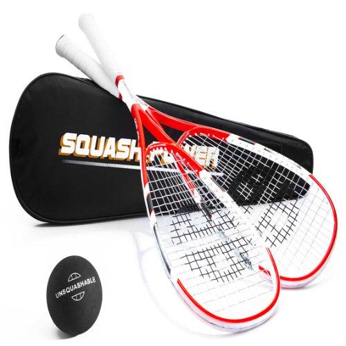 Unsquashable 2xDSP600 Squashschläger inkl. Squashball & Tasche ! rot