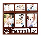 Family Collage Photo Frame Brown ( 6x8 inch 3 photos 4x6 inch 3 photos)