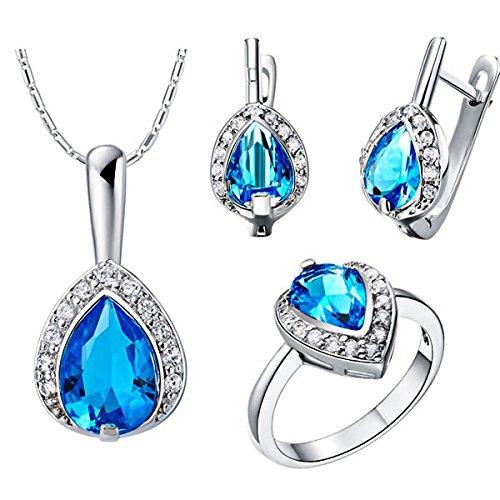 3-Piece Jewel Set Super Gem Necklace Pendant + Earrings + Ring By Tjspecia