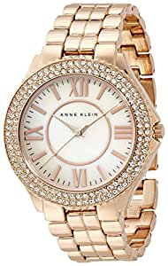 Anne Klein Women's AK/1430RMRG Swarovski Crystal Accented Rose Gold-Tone Bracelet Watch