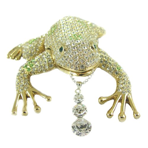 "Surprise inside! Swarovski Crystals Frog Jewelry Box Toad Keepsake Figurine with Solid Sterling Silver Swarovski Crystal Pendant 18"" Necklace Inside!"
