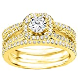 CZ Halo Engagement Ring and Ring Guard Set made in 14k Gold (2 Pieces) (1.78ct. twt. Cubic Zirconia)