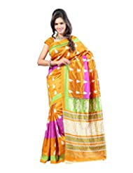 Kajal Sarees Women's Art Silk Self Print Saree (PS_226, Yellow)