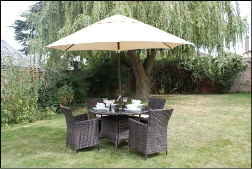 Nevada Rattan Garden Furniture Gartenmobel Set Runder Tisch Mit 4