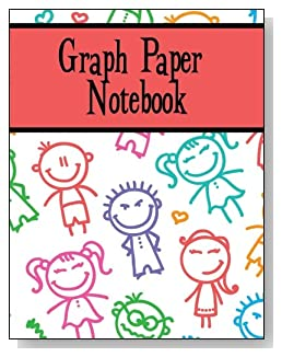 Graph Paper Notebook For Children - Smiling stick kids decorate the cover of this graph paper notebook for younger kids.