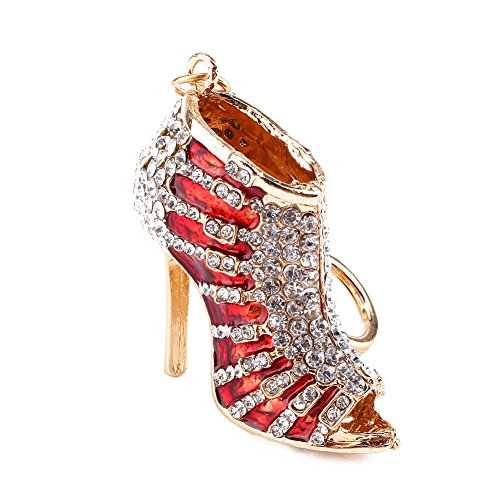 Yosoo Lady Gift Rhinestone Stiletto High Heel Shoe Crystal Blue Enamel Keychain Multicolor Enamel Keychain Gold