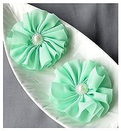 12 Mint Green Chiffon Flower Soft Fabric Silk Pearl Ballerina Twirl Flower Bridal Wedding Baby Hair Comb Pin Headband SF188