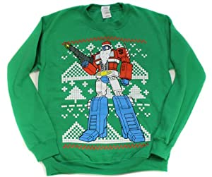Transformers Optimus Prime Christmas Ugly Sweater Style Crew Neck Sweatshirt