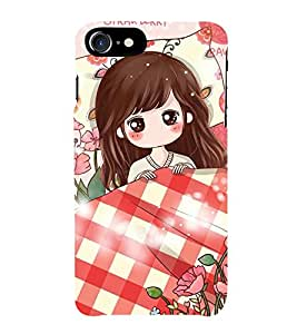 ANIMATED GIRL SURROUNDED BY FLOWERS 3D Hard Polycarbonate Designer Back Case Cover for Apple iPhone 7