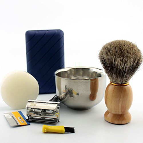 New Shaving Kit Vintage Safety Razor Mug Bowl Best Badger Brush Custom Made Soap (Total Vapor Twist compare prices)