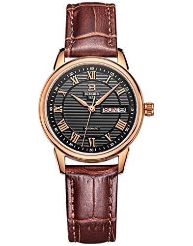 BINGER Women's Rose Gold Bezel Black Dial Quartz Watch With Calfskin Leather Strap (Gold Black Dial Womens Watches compare prices)