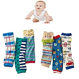 Luckystaryuan ® New Set of 6 Lovely Baby Cartoon Kneepads Leg Sock (boy baby)