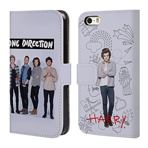 Official One Direction Harry Full Group Photo Solo Leather Book Wallet Case Cover For Apple iPhone 5 / 5s / SE (Iphone 5 S Case One Direction compare prices)