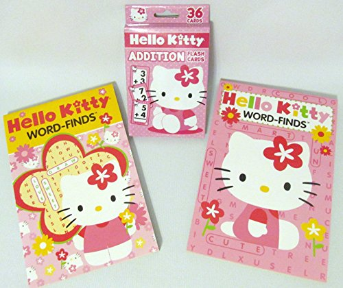 Learning with Hello Kitty Word-Finds Paperback Pads and Addition Flash Cards Set - 1
