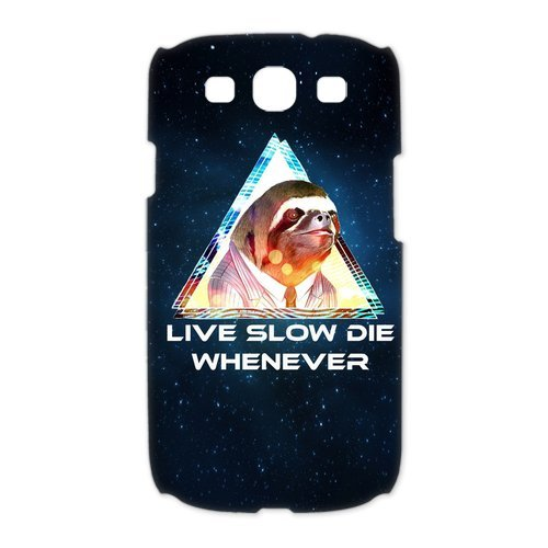 Customize Funny Sloth Tumblr black plastic Case Fits and Protect 3D Samsung Galaxy S3 I9300 at Jany store123 store