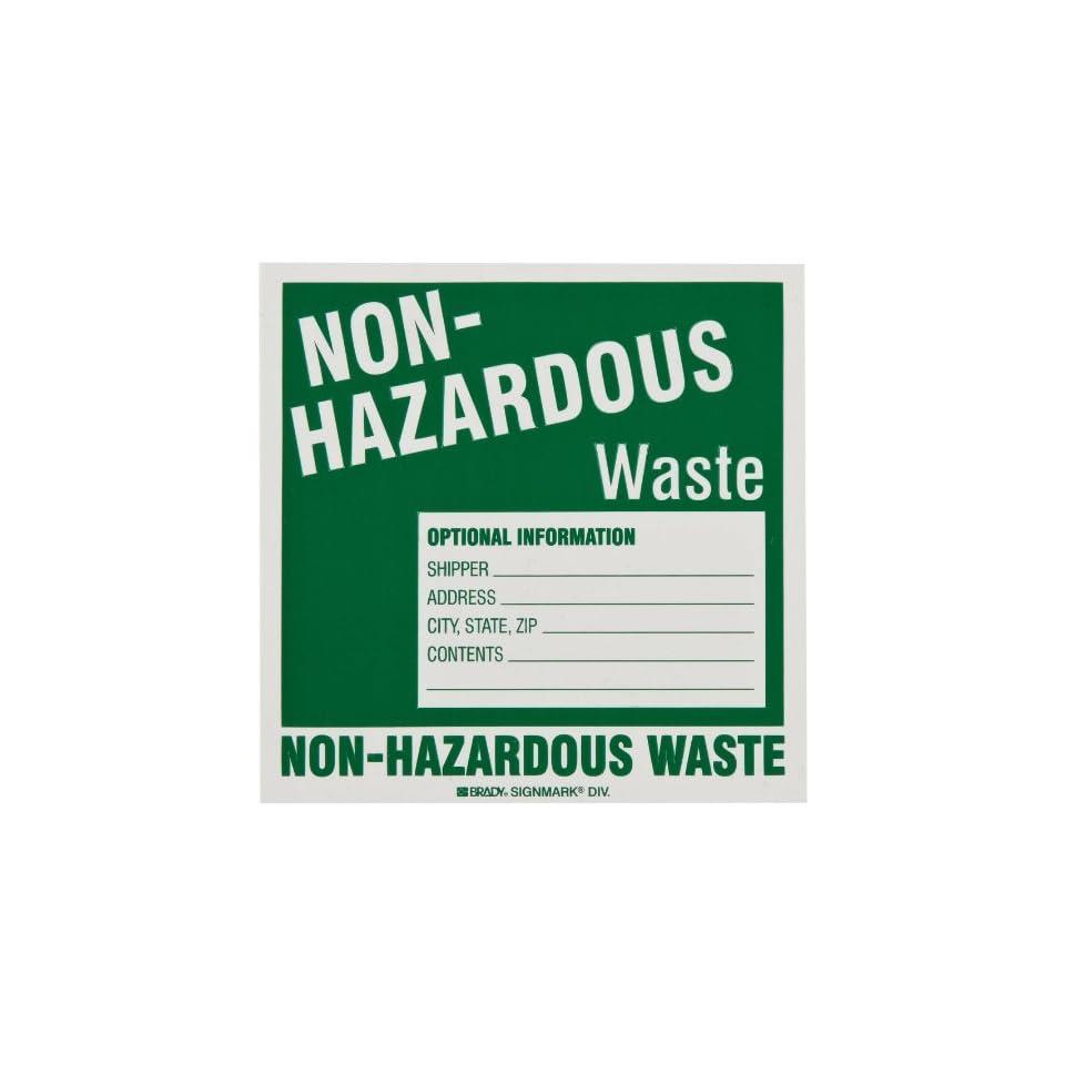 Brady 63275 6 Height, 6 Width, B 933 Vinyl, White On Green Color Hazardous Waste Label, Legend Non Hazardous Waste (Pack Of 50)