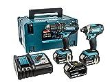 Makita DLX2131JX1 18 V Combi Drill Plus Impact Driver - Blue (2-Piece)
