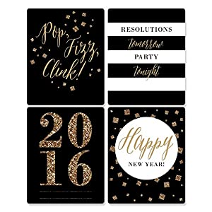 New Year's Eve - Gold - Holiday Wine Bottle Labels - Set of 4