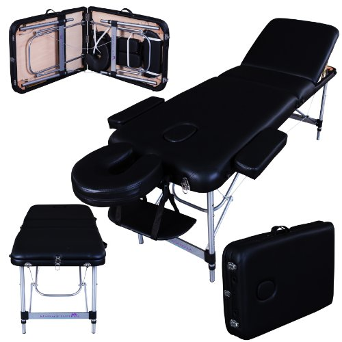 Massage Imperial® Richmond/Mayfair Lettino Professionale Per Massaggio, Portatile, In Alluminio, Schiuma ad Alta Densità 5 cm, Colore: Nero