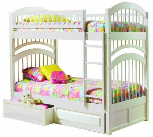 windsor twin over twin bunk bed white with raised panel bed drawers