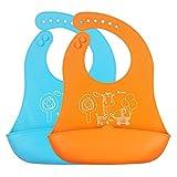 ZUOAO(ズオアオ)子供食事エプロン 2点セット ソフトスタイ 食べこぼしをキャッチ お出かけにも 楽々収納 丸洗い可能