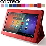 """Andteck Flip Leather Case for Zeepad 7.0, Dragon Touch A13 Q88, Y88, Chromo, FastTouch, Tagital, Noria Jr, Tab Nero 7"""" Tablet PCs w/Dual Camera [Protector/Stand] (Red)"""