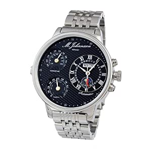 M. Johansson Automatic Temperature and Humidity Stainless Steel Black Dial Men's Watch MoziaSSB