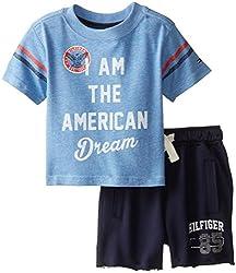 Tommy Hilfiger Baby-Boys Newborn America Tee Set, Placid Blue, 3 Months