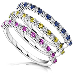 3/4ct TW Blue Yellow and Pink Sapphire and Diamond Rings in 14k White Gold (Set of 3) - Size 4
