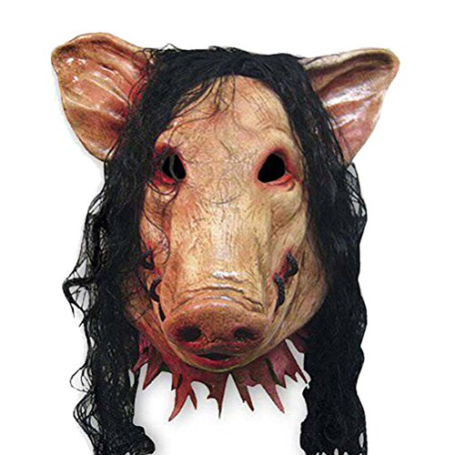 [WINOMO Halloween Pig Head Mask with Hair Creepy Scary Animal Prop Latex Party Unisex] (Sloth Goonies Costumes)