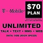 $70 T-Mobile Prepaid SIM Card Unlimited Talk