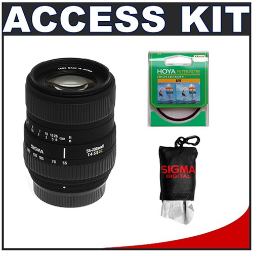Sigma 55-200mm f/4-5.6 DC Telephoto Zoom Lens + Hoya 55mm UV Haze Protector Glass Filter + Sigma Spudz XL Microfiber Cleaning Cloth - for Nikon Digital SLR Cameras including Nikon D50, D70, D70s, D80, D100, D200 & D300