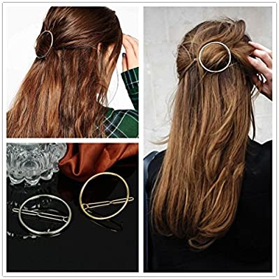 Akak Store Hollow Hoop Round Circle Geometric Metal Hair Clip Bobby Pin Ponytail Holder Hair Accessories for Women and Girl (2 Pcs/Lot,1 Gold & 1 Silver)