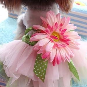 Urparcel Dog Daisy Gauze Tutu Dress Skirt Pet Dog Cat Princess Clothes Bowknot Dress S