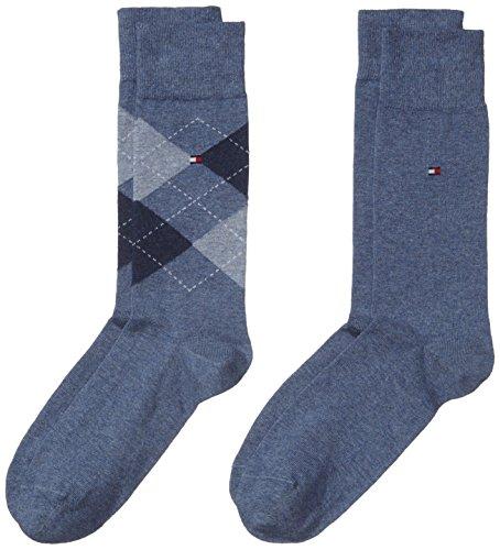 Tommy Hilfiger - Th Men Sock Check 2P, Calze da uomo, blu(blau (jeans 356)), taglia produttore: 43-46
