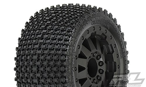 ProLine 1010213 Gladiator 2.8 All Terrain Tires Mounted On F-11 Black Rear Wheels for Electric Stamped/Rustler (Proline Gladiator compare prices)