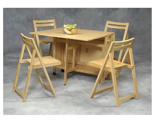 Buy Low Price Linon 5 Pc Wooden Folding Table Chairs Set
