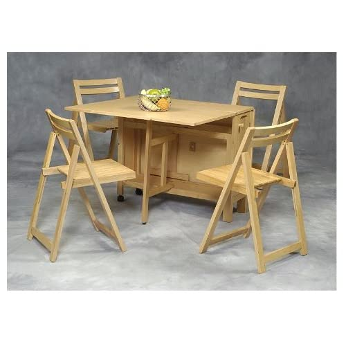 Linon space saver table chairs 5 pc set for Dining room tables on amazon