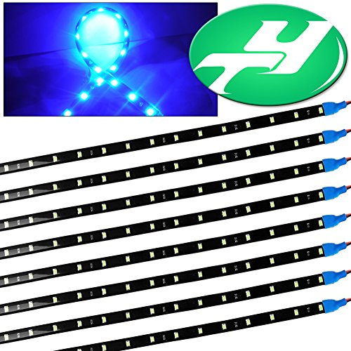 YINTATECH 8 X 30cm Ice Blue 15 LED Flexible Strip Lights Waterproof Car Motorcycle 12V (Ice Blue Motorcycle Lights compare prices)